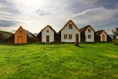 Casa da coberta do gramado, construções originais de Islândia, Glaumbaer fotografia de stock royalty free