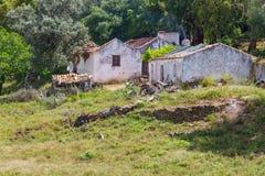 A casa da exploração agrícola e a árvore de cortiça no Santiago fazem Cacem Imagens de Stock Royalty Free