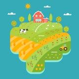 Casa da exploração agrícola, montes e mapa ilustrado campos Comcept da agricultura ilustração do vetor