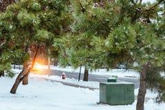Casa da família com jardim da frente na neve Casa residencial na árvore da neve do inverno Fotos de Stock Royalty Free