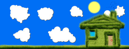 Casa da grama verde Imagens de Stock
