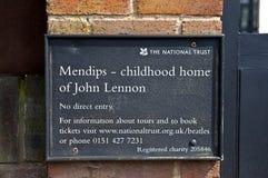 Casa da infância de John Lennon em Liverpool Imagem de Stock