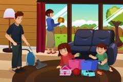 Casa da limpeza da família ilustração stock