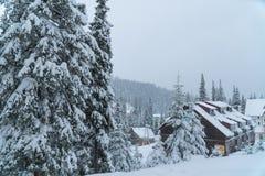 Casa da neve do inverno recurso Comeu na neve imagens de stock