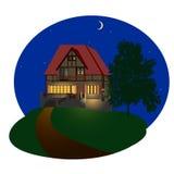 Casa da noite Imagens de Stock