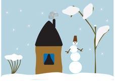 Casa da paisagem do inverno do boneco de neve Fotos de Stock Royalty Free