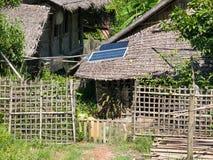 Casa da palha com painel solar Imagem de Stock Royalty Free