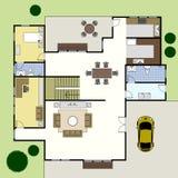 Casa da planta da arquitetura de Floorplan ilustração royalty free