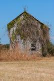 A casa da quinta abandonada coberto de vegetação com as videiras senta-se em Georgia Field fotos de stock