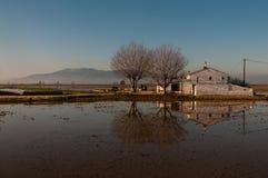 A casa da quinta com arroz coloca no delta de Ebro Foto de Stock Royalty Free