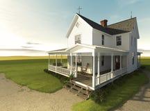 Casa da quinta de Prarie no nascer do sol Imagem de Stock