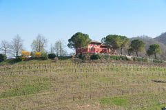 Casa da quinta na parte superior do monte na primavera, arredondada pela prosa Foto de Stock