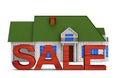 Casa da venda no fundo branco Ilustração 3d isolada ilustração stock