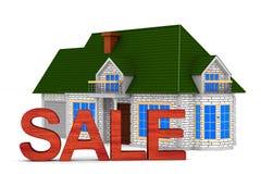 Casa da venda no fundo branco Ilustra??o 3d isolada ilustração stock