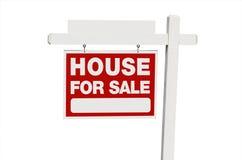 Casa da vendere il segno del bene immobile Fotografia Stock Libera da Diritti