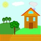 Casa da vila de um quadro das árvores na paisagem ilustração stock