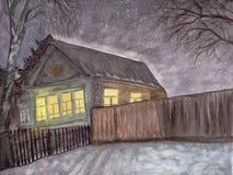 Casa da vila na véspera do ano novo no interior do russo O céu estrelado ilustração royalty free