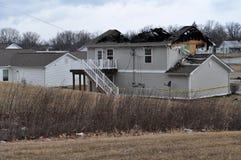 A casa danificou pelo incêndio Imagens de Stock