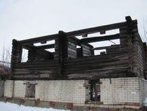 Casa danneggiata dall'incendio bruciata Fotografia Stock Libera da Diritti