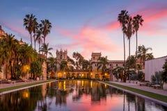 Casa de Balboa au coucher du soleil, parc de Balboa, San Diego Etats-Unis Photographie stock libre de droits
