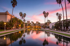 Casa De Balboa at sunset, Balboa Park, San Diego USA royalty free stock photo