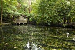 Casa de barco en un lago imagen de archivo libre de regalías