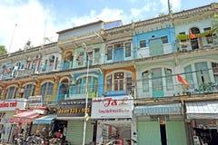 Casa de bloco velha do vintage na cidade de China, Sai Gon Fotografia de Stock