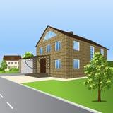 Casa de bloques, con un pórtico y un garaje en perspectiva Fotos de archivo