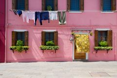 A casa de Burano colorido Fotos de Stock