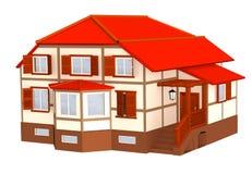casa de campo 3d com um telhado da cor vermelha ilustração do vetor