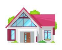Casa de campo, cabaña de la familia, propiedades inmobiliarias, casa de vacaciones con el diagrama ilustración del vector