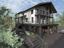 Casa de campo, casa no terreno complexo ilustração royalty free
