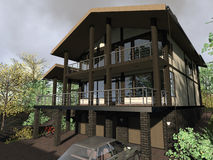 Casa de campo, casa no terreno complexo ilustração stock