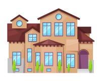 Casa de campo colorida, cabaña de la familia, propiedades inmobiliarias en estilo provincial ilustración del vector