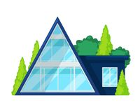Casa de campo colorida, cabaña, reconstrucción de la mansión, propiedades inmobiliarias ilustración del vector