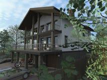 Casa de campo com garagem ilustração royalty free