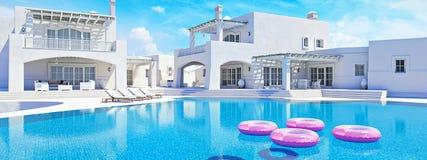 Casa de campo com piscina Conceito do verão rendição 3d Imagem de Stock Royalty Free