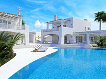 Casa de campo com piscina Conceito do verão rendição 3d Imagem de Stock