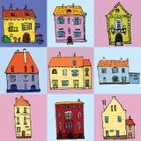 Casa de campo da casa de cidade e ilustração isolada do vetor da construção dos bens imobiliários grupo sortido ilustração royalty free