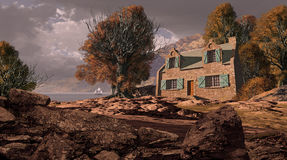 Casa de campo da linha costeira ilustração do vetor