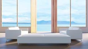 A casa de campo da opinião do mar da sala de visitas/3d rende a imagem foto de stock royalty free
