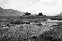 Casa de campo de la montaña de los caminantes, Abisko Suecia Imagen de archivo