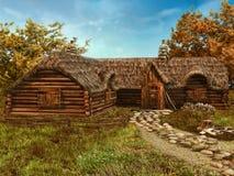 Casa de campo de madeira colorida Fotos de Stock Royalty Free