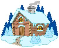 Casa de campo de madeira na paisagem do inverno Imagem de Stock