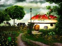 Casa de campo do cogumelo venenoso Fotografia de Stock Royalty Free