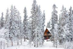 Casa de campo do Natal no país das maravilhas do inverno Fotos de Stock