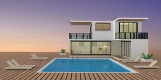 Casa de campo do recurso no seaview do por do sol com piscina na rendição 3D Imagens de Stock