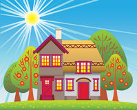 Casa de campo do verão Ilustração do Vetor