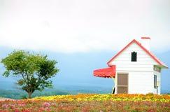 Casa de campo e árvore Fotos de Stock Royalty Free