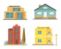 Casa de campo e ícones classificados da construção dos bens imobiliários Coleção residencial da casa no estilo novo dos desenhos  Fotos de Stock Royalty Free